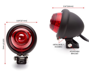 LED Taillight Stoplight Bates Style in Black for Vintage Retro Custom Project