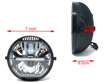 "LED Headlight 7"" with brackets for Project Cafe Racer or Streetfighter - HOMOLOGATED"