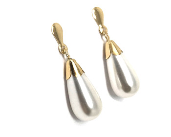 9ct Gold Ladies Drop Earrings with Pearl Teardrop