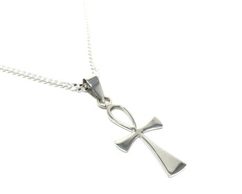 Sterling Silver Egyptian Ankh Pendant on 60 cm Medium Diamond-cut Curb Chain