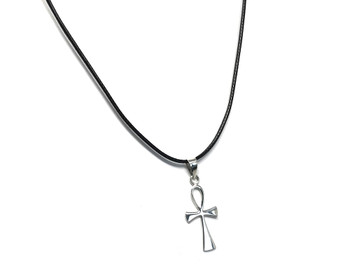 Ladies Sterling Silver Egyptian Ankh Pendant on 41-46 cm Leatherette Necklace