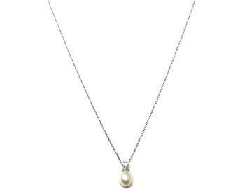 Freshwater Pearl & Cubic Zirconia Pendant on Sterling Silver Chain