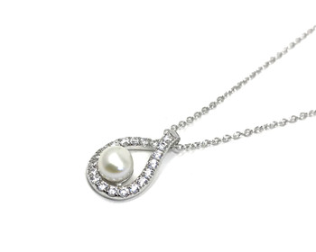 Sterling Silver Necklace with Cubic Zirconia Teardrop Outline and Freshwater Pearl