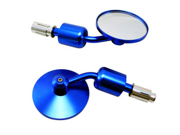 Pair of High Quality Motorcycle Motorbike Trike CNC Machined Blue Aluminium Round Bar End Mirrors