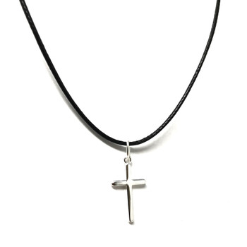 Ladies Sterling Silver Small Cross on 41-46cm Leatherette Cord