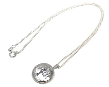 Ladies Sterling Silver Rhodium Plated Tree of Life Locket on 41cm Silver Necklace