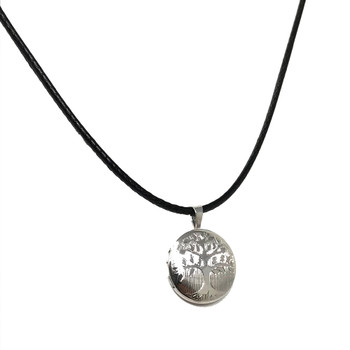 Ladies Sterling Silver Rhodium Plated Tree of Life Locket on 41-46cm Leatherette Cord Necklace