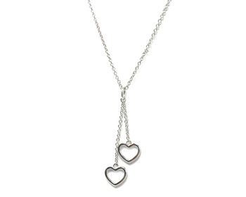 Women's Sterling Silver Double Love Heart Necklace on 42-45 cm Chain - Ideal Valentines Gift