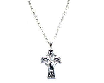 Men's Medium Celtic Cross Pendant on 60 cm Medium Diamond-cut Curb Chain - 925 Sterling Silver