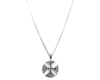 Sterling Silver Large Round Celtic Cross Pendant on 60 cm Curb Chain