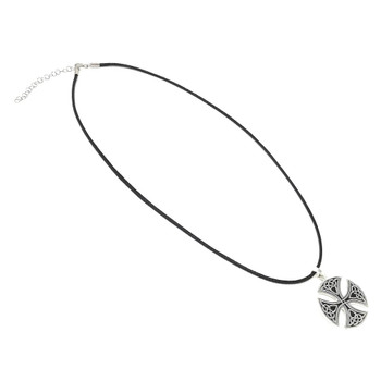 Large Round Sterling Silver Celtic Cross on 41-46cm Leatherette Cord Necklace