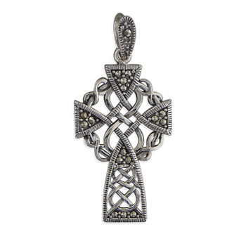 Ladies Sterling Silver Marcasite Celtic Cross on 41-46cm Leatherette Cord Necklace