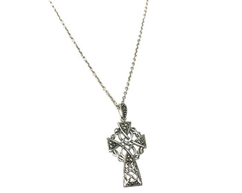 Ladies Sterling Silver Marcasite Celtic Cross on a 46cm Oxidised Necklace