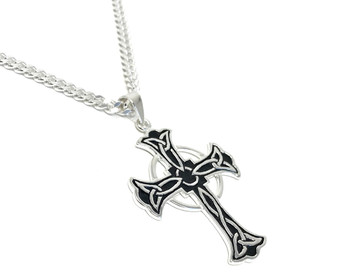 Men's Large Celtic Cross Pendant on 60 cm Heavy Diamond-cut Curb Chain - 925 Sterling Silver