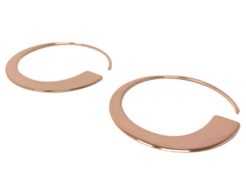 Rose Gold Plated Flat Tapered Pull-Thru Open Hoop Earrings
