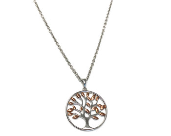 Ladies Sterling Silver Tree of Life Pendant with Rose Gold Plated Leaves on 46cm Oxidised Silver Necklace