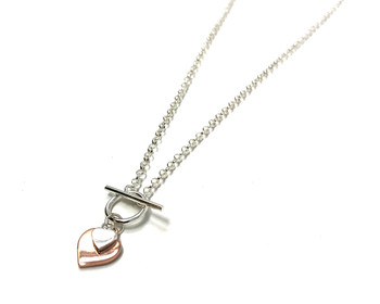 Sterling Silver and Rose Gold Plated Double Heart T Bar Necklace
