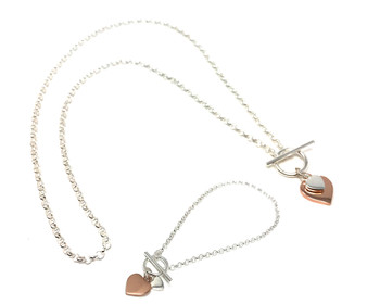 Sterling Silver and Rose Gold Plated Double Heart T Bar Necklace with Matching Bracelet Set