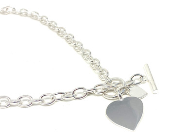 Sterling Silver Necklace with Double Heart Tag with Bar and Ring (Toggle) Fastening