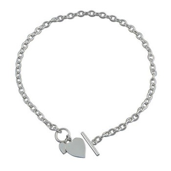 Sterling Silver Necklace and Bracelet Set with Double Heart Tag with Bar and Ring (Toggle) Fastening