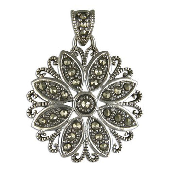 Ladies Sterling Silver Marcasite Starburst Flower Pendant on a Chain Necklace
