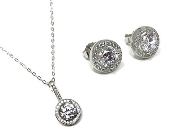 Ladies Sterling Silver Micro Set Cubic Zirconia Halo Pendant Fine Chain and Stud Earrings Set