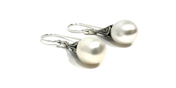 Sterling Silver Marcasite and Teardrop Pearl Drop Earrings