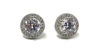Ladies Sterling Silver Micro Set Cubic Zirconia Halo Stud Earrings