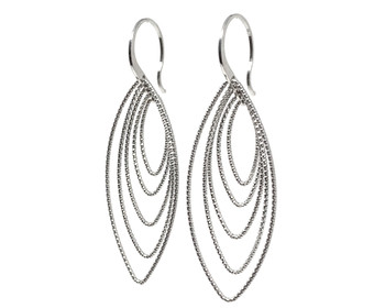 Silver Multi Diamond-Cut Oval Drop Earrings