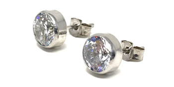 9ct White Gold Bezel Set Round Cubic Zirconia Stud Earrings