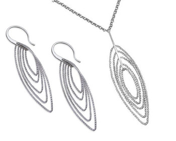 Silver Multi Diamond-Cut Oval Necklace Pendant on Chain with Matching Earrings Set