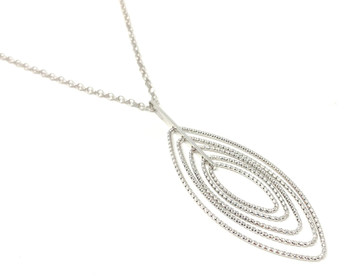 Silver Multi Diamond-Cut Oval Necklace Pendant on Chain