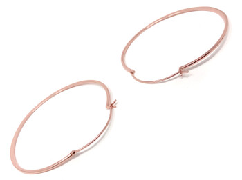 Ladies Hoop Earrings Rose Gold Plated Large Flat Creole
