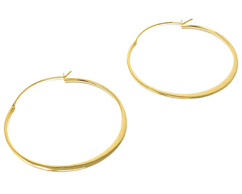 Ladies Hoop Earrings Yellow Gold Plated Large Flattened Creole Hoops