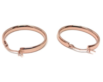 Rose-Gold Plated Flat Hoop Earrings Sterling Silver