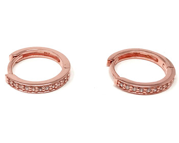 Rose Gold Vermeil Small Hoop Huggie Earrings with Cubic Zirconias