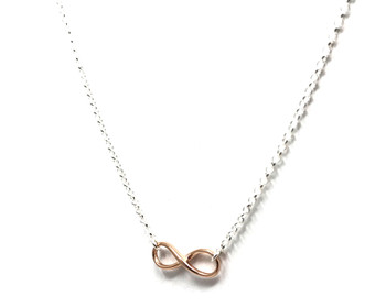 Ladies Sterling Silver and Rose Gold Plated Infinity Symbol Necklace 38-43cm