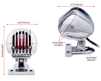 LED Stop & Tail Light With Prison Grill in Polished Aluminium for Retro Custom Project HOG