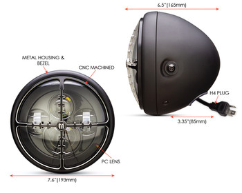 """Motorbike Headlight LED 7.7"""" with Target Design Grill for Retro Cafe Racer & Streetfighter"""