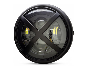 """Motorbike Headlight LED 7.7"""" with X-Rally Grill for Retro Cafe Racer & Streetfighter"""