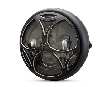 """Motorcycle Headlight LED 7.7"""" with Tri Maltese Design Grill for Retro Cafe Racer & Streetfighter"""