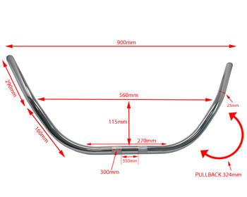 "Motorcycle 25mm 1"" Beach Bars Handlebars CHROME 12"" High"