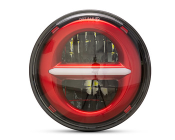 "5.75"" 45W Red Multi Projector LED Headlight Insert with Daytime Running Lights"