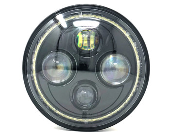 "Motorbike Projector LED Headlight Insert - 7"" with Halo - High Quality - Homologated"