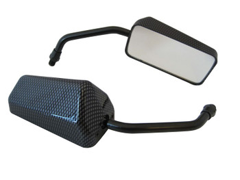 Motorbike Mirrors Carbon Fibre Colour fits 10mm
