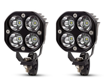 Motorbike Spotlight Foglight LED Kit 40W Lamps + Wiring Harness Switch Clamps