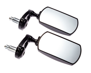 "Motorbike Mirrors Bar End Fold In Up Away Rectangular Rear Side View 7/8"" 22mm"