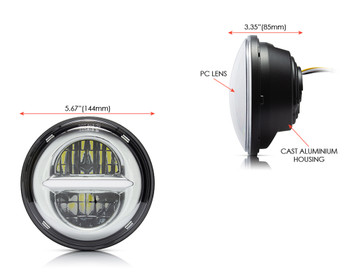 "5.75"" 45W Silver Multi Projector LED Headlight Insert with Daytime Running Lights"