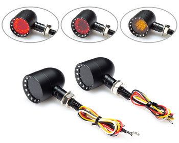Motorbike LED Indicators Stop Tail Lights Integrated for Custom Chopper PAIR