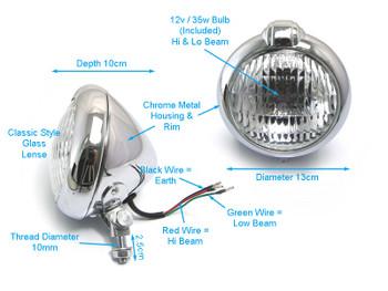 Motorbike Headlight Classic Custom Chrome for Bobber Chopper Scrambler Cafe Racer - 12V 35W
